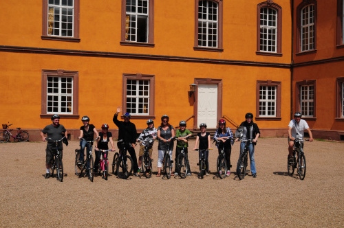 We cycled to a castle for a wine-tasting - or apple juice tasting for the kids